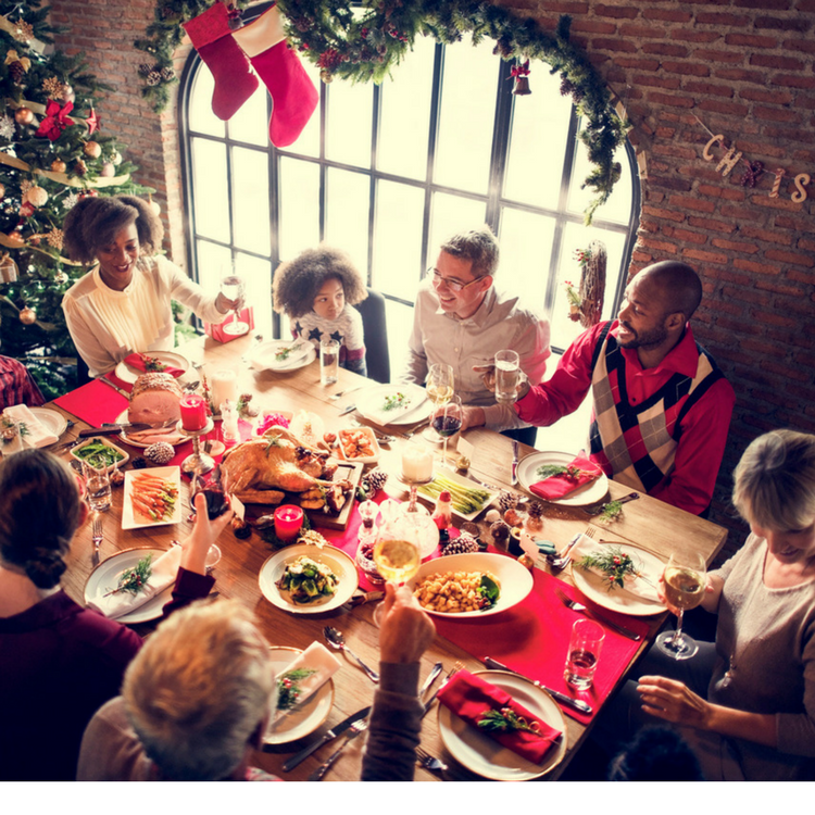 Family celebrating the holiday comfortably and cool